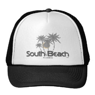 South Beach Miami Grey Palms Mesh Hats
