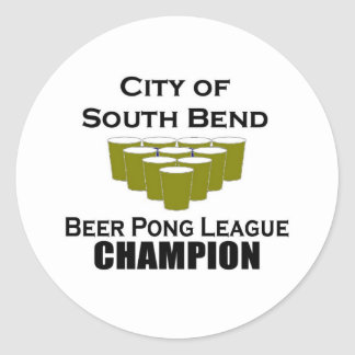 South Bend Beer Pong Champion Round Stickers