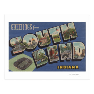 South Bend, Indiana - Large Letter Scenes Postcard