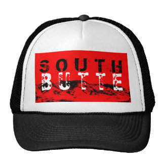 South Butte Black White on Red Middle mountain lid Cap