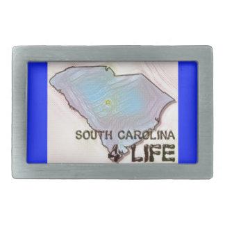 """South Carolina 4 Life"" State Map Pride Design Rectangular Belt Buckles"