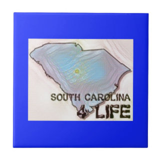 """South Carolina 4 Life"" State Map Pride Design Tile"