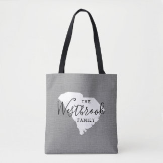 South Carolina Family Monogram State Tote Bag