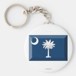South Carolina Flag Gem Basic Round Button Key Ring