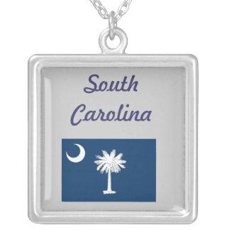 South Carolina Flag Silver Plated Necklace