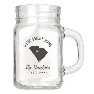 South Carolina Home Sweet Home Family Monogram Mason Jar