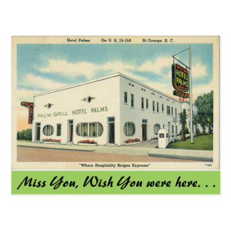 South Carolina, Hotel Palms, St. George Postcard