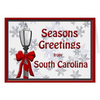 South Carolina Seasons Greetings Lamp Snowflake Card