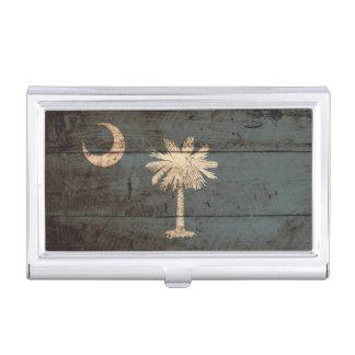 South Carolina State Flag on Old Wood Grain Business Card Holder