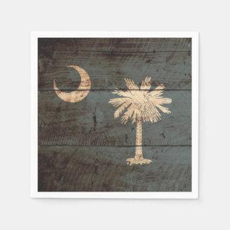 South Carolina State Flag on Old Wood Grain Disposable Serviette