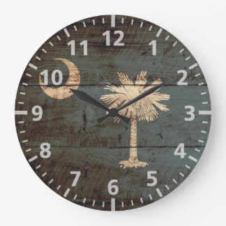 South Carolina State Flag on Old Wood Grain Large Clock
