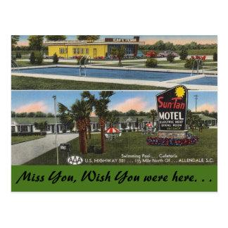 South Carolina, Sun-Tan Motel, Allendale Postcard