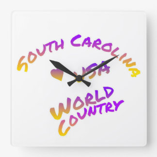South Carolina usa world country, colorful text ar Clocks
