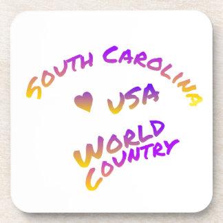 South Carolina usa world country, colorful text ar Coaster