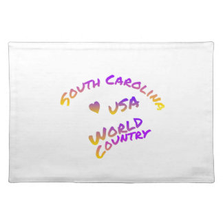 South Carolina usa world country, colorful text ar Placemat