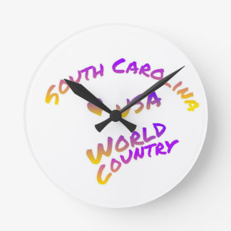 South Carolina usa world country, colorful text ar Round Clock