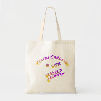 South Carolina usa world country, colorful text ar Tote Bag