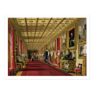 South Corridor, Windsor Castle, 1838 (chromolitho) Postcard