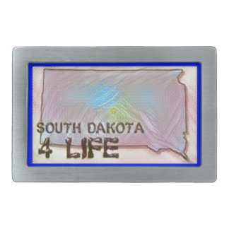 """South Dakota 4 Life"" State Map Pride Design Belt Buckles"