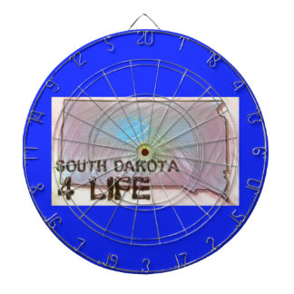 """South Dakota 4 Life"" State Map Pride Design Dartboard"