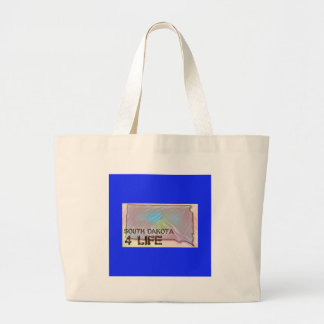 """South Dakota 4 Life"" State Map Pride Design Large Tote Bag"
