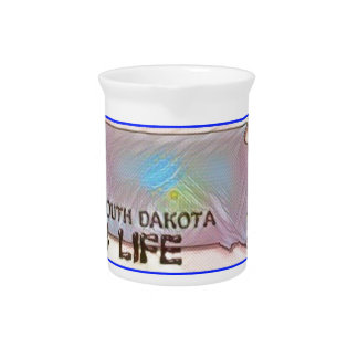 """South Dakota 4 Life"" State Map Pride Design Pitcher"
