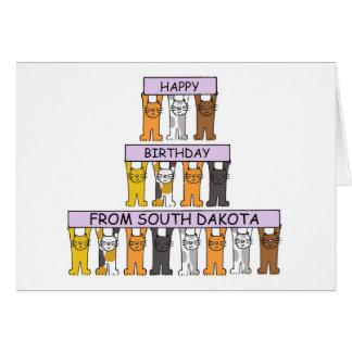 South Dakota Birthday Cats Card
