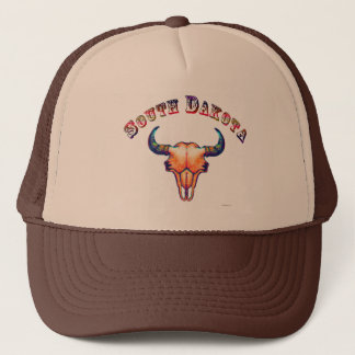 South Dakota Buffalo Skull Design Trucker Hat