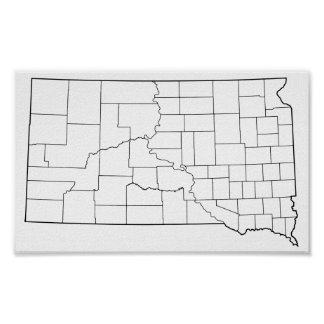 South Dakota Counties Blank Outline Map Poster