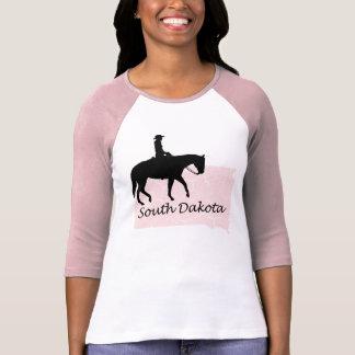 South Dakota Cowgirl Grunge Map Ladies Pink Raglan Tshirt