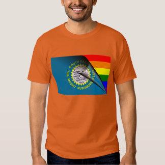 South Dakota Flag Gay Pride Rainbow Tee Shirts