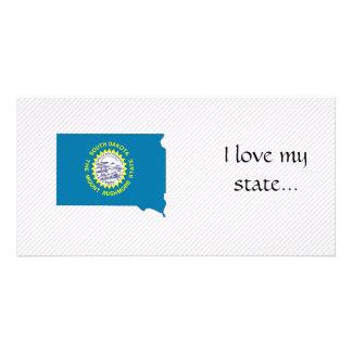 South Dakota Flag Map Photo Greeting Card
