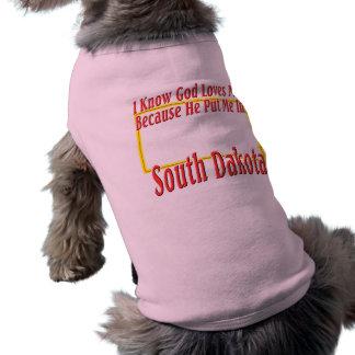 South Dakota - God Loves Me Sleeveless Dog Shirt
