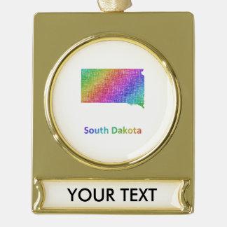 South Dakota Gold Plated Banner Ornament