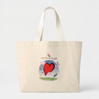 south dakota head heart, tony fernandes large tote bag