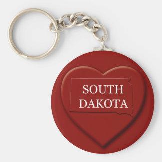 South Dakota Heart Map Keychain