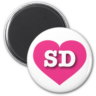 South Dakota hot pink heart - Big Love 6 Cm Round Magnet