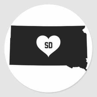 South Dakota Love Classic Round Sticker
