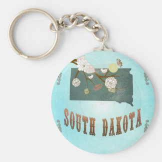 South Dakota Map With Lovely Birds Basic Round Button Key Ring