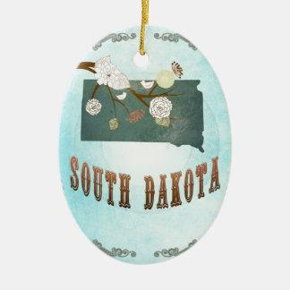 South Dakota Map With Lovely Birds Ceramic Oval Decoration