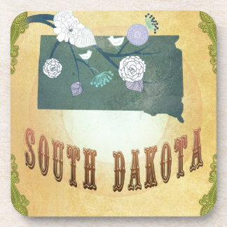 South Dakota Map With Lovely Birds Coasters