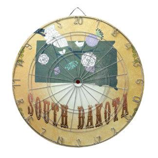 South Dakota Map With Lovely Birds Dart Boards