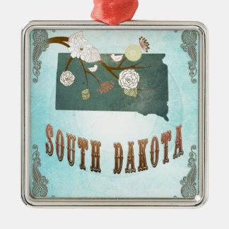 South Dakota Map With Lovely Birds Christmas Tree Ornament