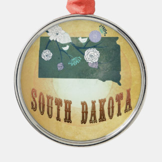 South Dakota Map With Lovely Birds Silver-Colored Round Decoration