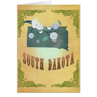 South Dakota Map With Lovely Birds Greeting Card