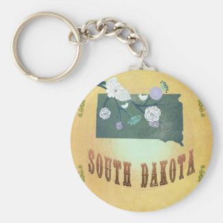 South Dakota Map With Lovely Birds Keychains