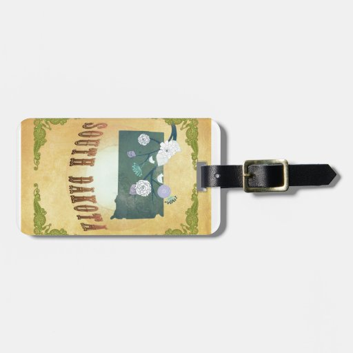 South Dakota Map With Lovely Birds Tag For Bags