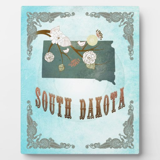 South Dakota Map With Lovely Birds Plaque