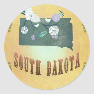 South Dakota Map With Lovely Birds Round Sticker