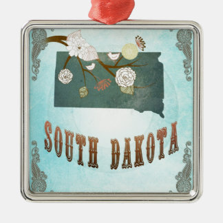 South Dakota Map With Lovely Birds Silver-Colored Square Decoration